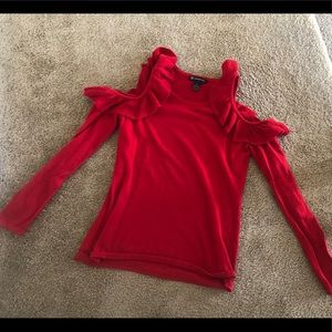 Inc. by Macy's Ruffle Cold Shoulder Sweater